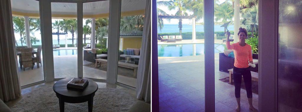 Vista para a piscina da propriedade de Shania nas Bahamas